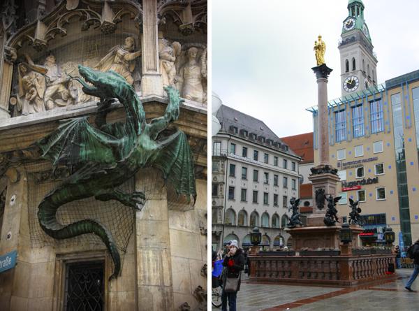 Estátua de um dragão na Neues Rathau e Coluna de Maria - Munique - Alessandro Paiva