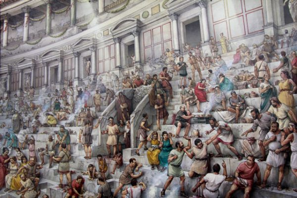 Ilustração da plateia em um dia de espetáculo no Coliseu