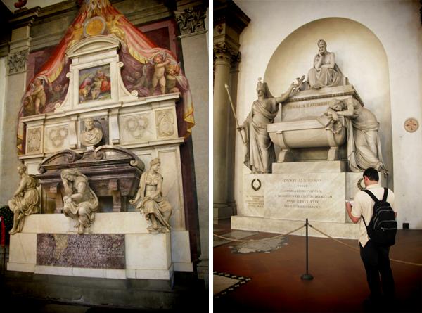 Túmulos de Michelangelo e Dante Alighieri, na Basílica de Santa Cruz - Firenze - Fui e Vou Voltar - Alessandro Paiva