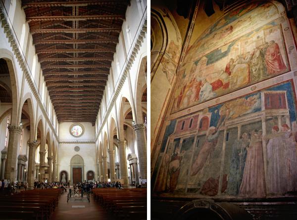 "Nave da Basílica de Santa Cruz e ""Ascensione di San Giovanni"", afresco de Giotto - Firenze - Fui e Vou Voltar - Alessandro Paiva"
