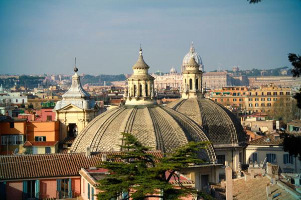 Cúpulas das igrejas gêmeas Santa Maria in Montesanto e Santa Maria dei Miracoli - Roma - Fui e Vou Voltar - Alessandro Paiva