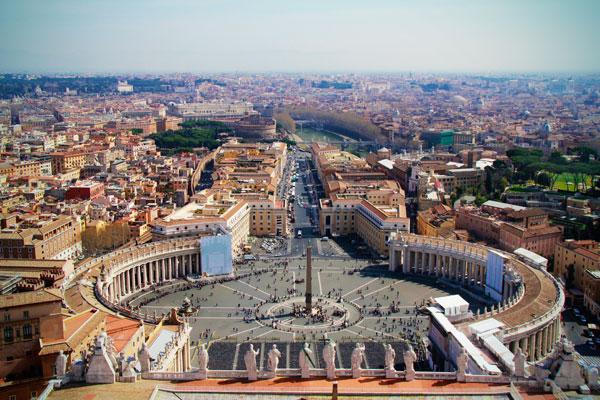 Praça São Pedro vista do domo da basílica, no Vaticano - Roma - Fui e Vou Voltar - Alessandro Paiva