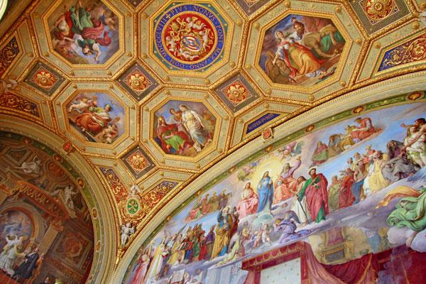 Teto em uma das Salas de Rafael, nos Museus Vaticano - Roma - Fui e Vou Voltar - Alessandro Paiva