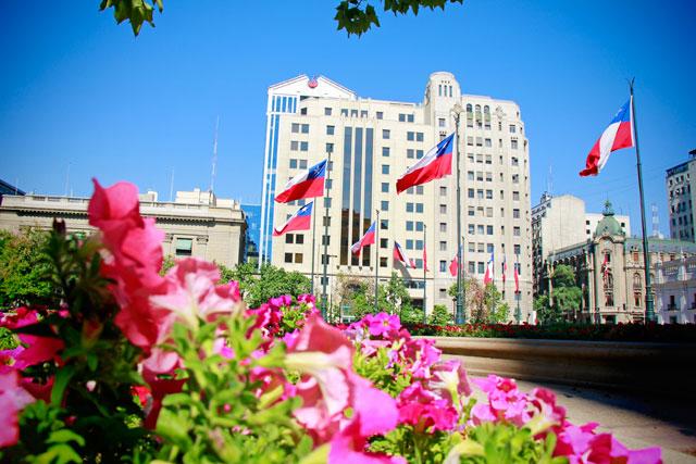 Edifício do Ministerio de Justicia de Chile, na Plaza de la Constitución