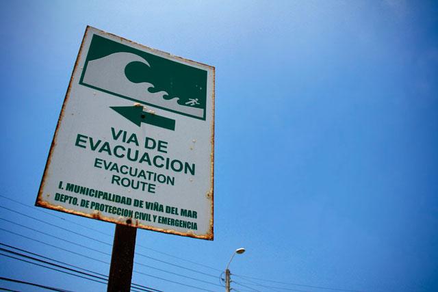 Sinalização de evacuação em caso de tsunamis