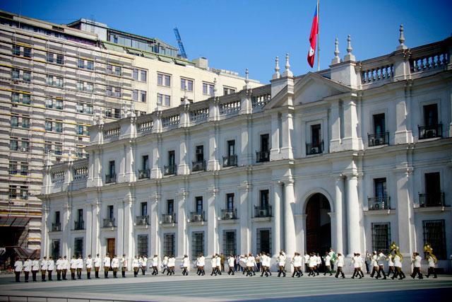 Cerimônia de troca da guarda, no La Moneda