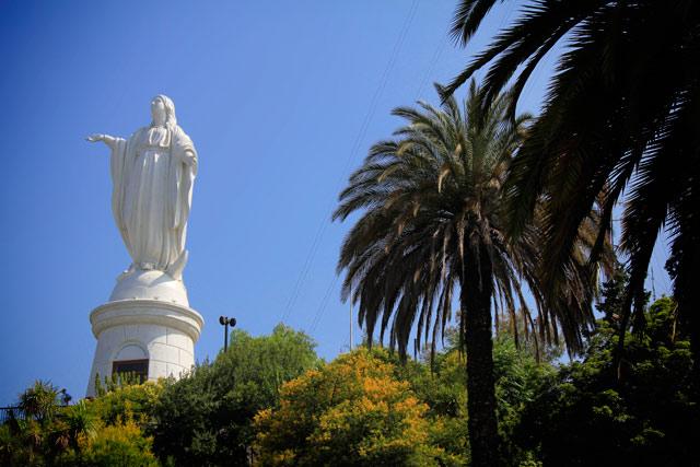 Estátua da Virgen Inmaculada Concepción, no Cerro San Cristóbal