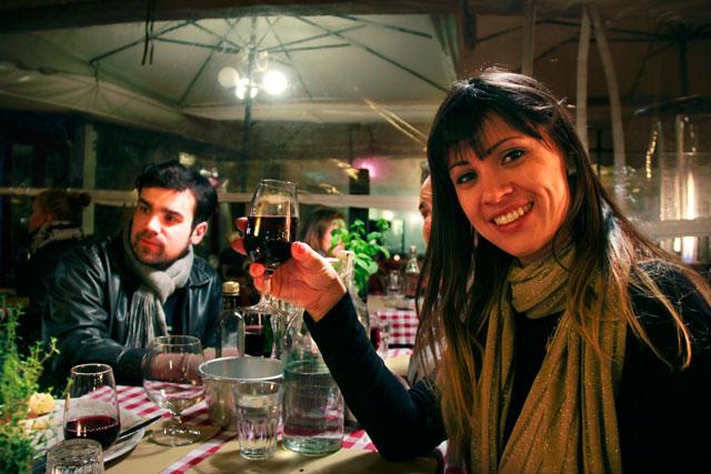 André e Ana, em restaurante da Campo del Fiori