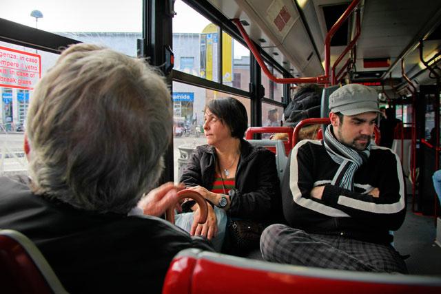 Meus pais e André, no ônibus 118, a caminho da Via Appia. Melancolia de Edward Hopper :-)