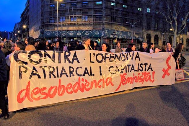 Manifestação feminista na Gran Via