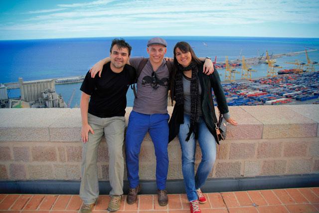 Élcio, eu e Clarice, no Castell de Montjuïc, Barcelona