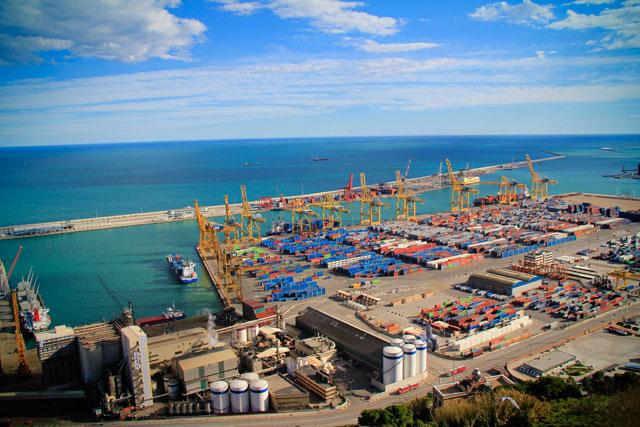 Porto de Barcelona, visto do Castell de Montjuïc