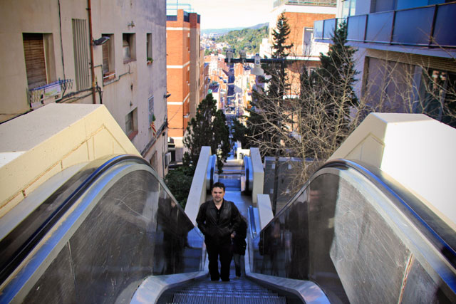 Escada rolante da Baixada de la Glòria, que leva ao Parc Güell