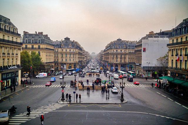 Avenue de l'Opéra vista da sacada frontal do Opéra Garnier