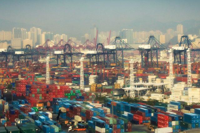 Detalhe do porto de Hong Kong