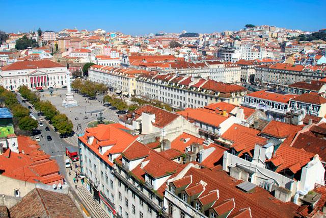 Lisboa vista do Elevador de Santa Justa. Destaque para o Rossio