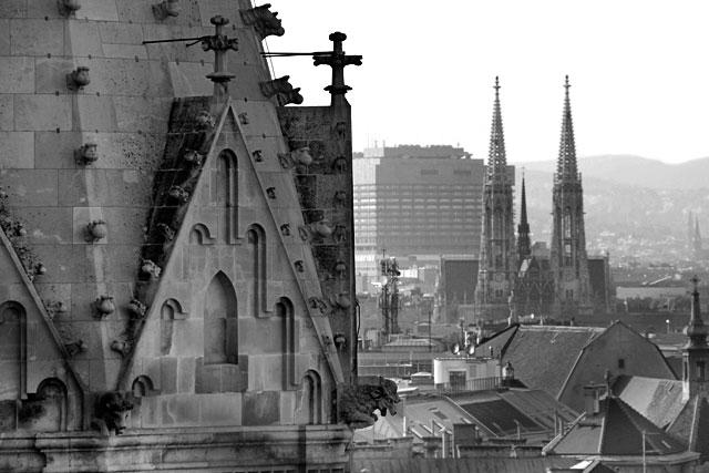 Torres da Votivkirche vistas da torre sul da Stephansdom.