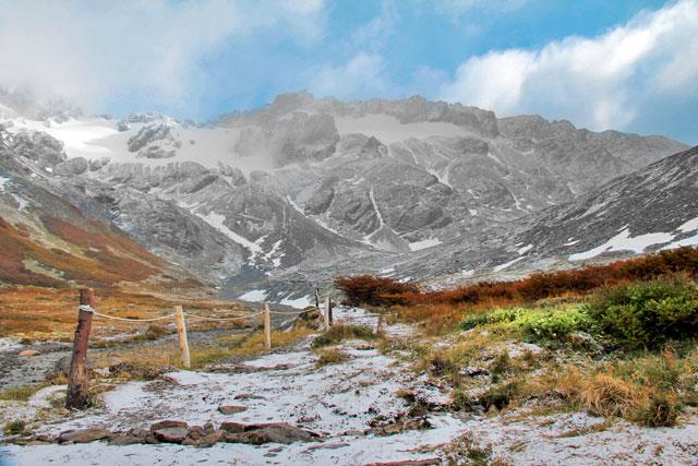 Paisagem vista na descida pela Glaciar Martial
