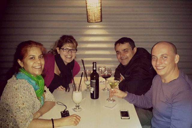 Isabel, Cintia, Élcio e eu, no Viagro Bar-Resto