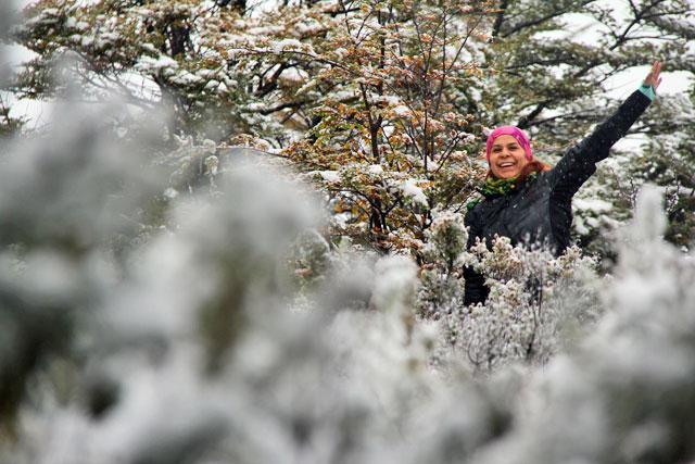 Isabel, na Senda Pampa Alta, no Parque Nacional Tierra del Fuego