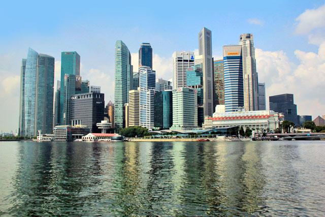 Business District, visto do passeio de barco pelo Rio Singapura