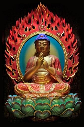 Uma das estátuas do Buda que decoram o Buddha Tooth Relic Temple