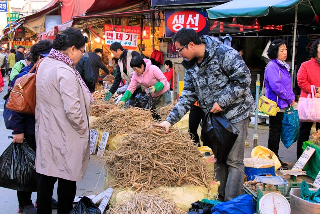 Barraca de ginseng do mercado de Gyeongdong