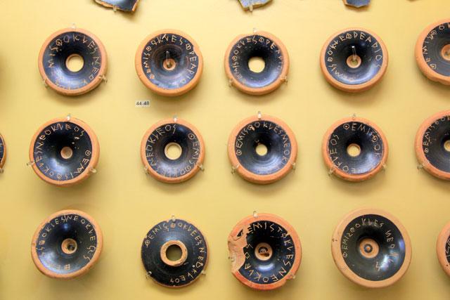 Óstracos, no Museu da Ágora Antiga