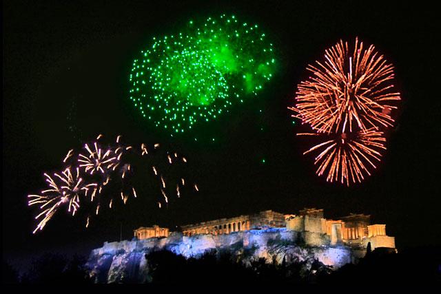 Show pirotécnico da virada do ano na Acrópole, visto da Praça Jacqueline de Romilly