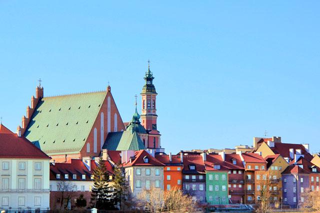 Cidade Velha (Stare Miasto) vista da Ponte Śląsko-Dąbrowski, em Varsóvia