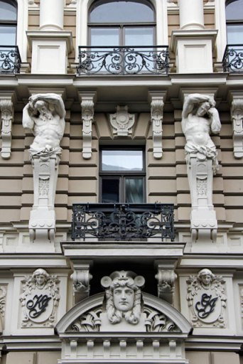 Detalhe da fachada de edifício da Rua Elizabetes