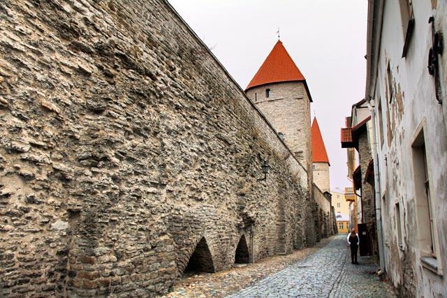 Muralha de Tallinn com destaque para a torre Torre Eppingi, na Rua Laboratooriumi